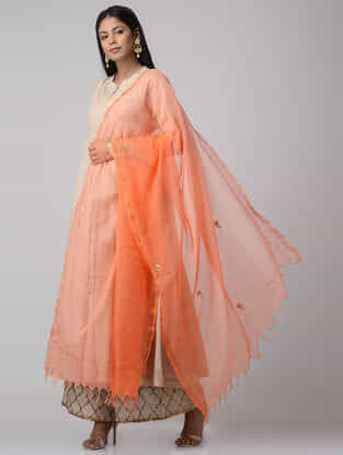 Peach Ombre-dyed Gota-patti Kota Doria Dupatta with Zari Border