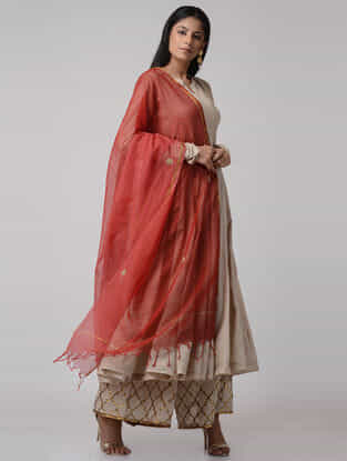 Red Ombre-dyed Gota-patti Kota Doria Dupatta with Zari Border