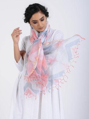Ivory-Pink Clamp-dyed Kota Doria Stole with Zari Border