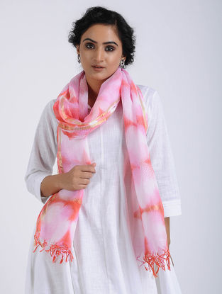 Pink-Red Clamp-dyed Kota Doria Stole with Zari Border