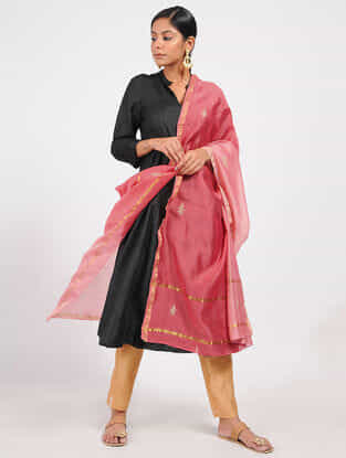 Pink Ombre-dyed Chanderi Dupatta with Sequins and Zari Work