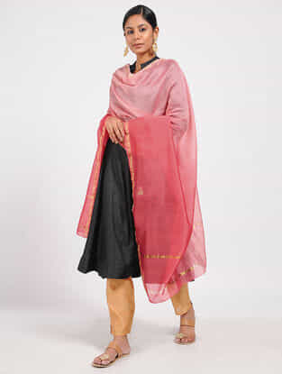 Pink Ombre-dyed Chanderi Dupatta with Zari and Aari-work