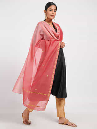 Pink Ombre-dyed Chanderi Dupatta with Zari and Beed-work