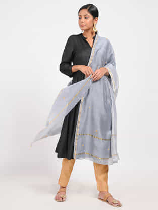 Blue Ombre-dyed Chanderi Dupatta with Zari and Beed-work
