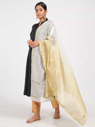 Ivory-Beige Ombre-dyed Chanderi Dupatta with Zari and Beed-work