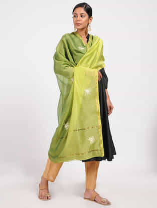 Green Hand-embroidered and Ombre-dyed Dupatta with Zari