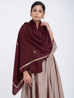 Maroon Hand-embroidered Cashmere/Wool Stole