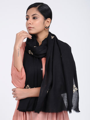 Black Hand-embroidered Cashmere/Wool Stole