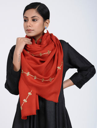 Red Hand-embroidered Cashmere/Wool Stole