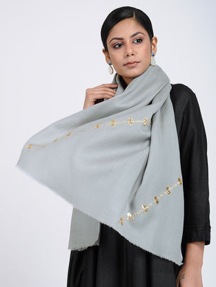 Grey Hand-embroidered Cashmere/Wool Stole