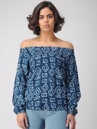 Indigo-Ivory Off-shoulder Dabu-printed Rayon Top