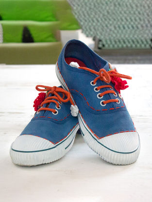 Indigo Handcrafted Upcycled Canvas Sneakers with Embellishments