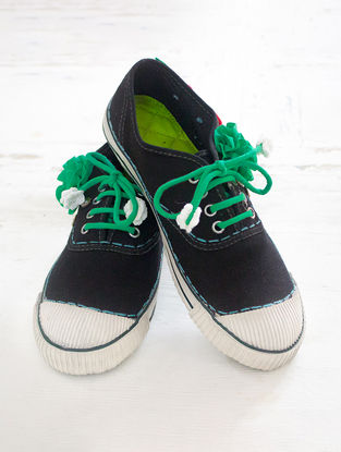 Black Handcrafted Upcycled Canvas Sneakers with Embellishments