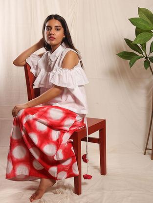 Red-White Tie-up Elasticated Waist Shibori Cotton Skirt
