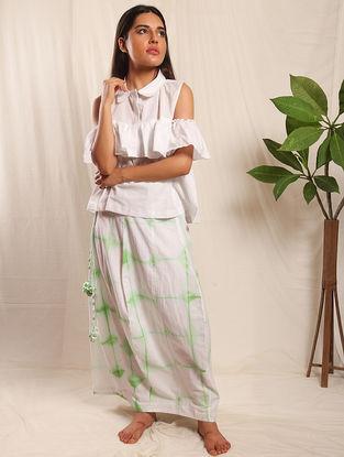 Green-White Tie-up Elasticated Waist Shibori Cotton Skirt