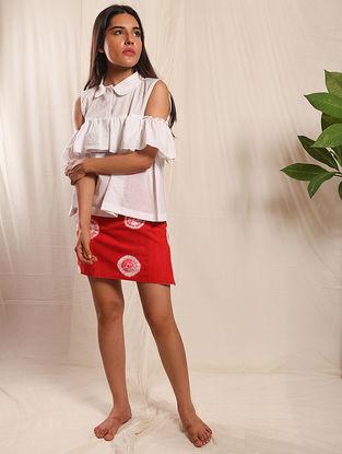 Red-White Shibori Cotton Wrap Around Skirt