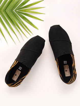 Black-Yellow Handcrafted Ikat Cotton Espadrilles