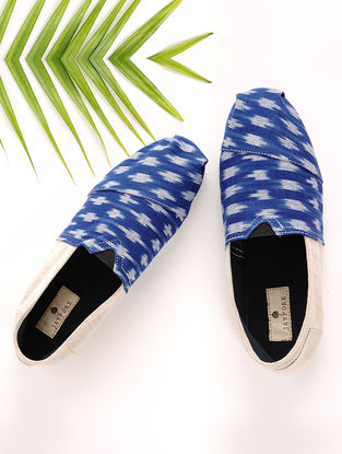 Blue-Beige Handcrafted Ikat Cotton Espadrilles