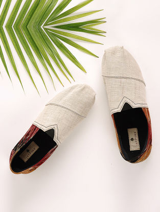 Beige-Multicolored Handcrafted Ikat Cotton Espadrilles