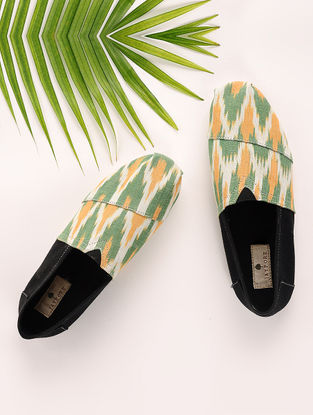 Green-Black Handcrafted Ikat Cotton Espadrilles