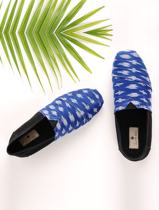 Blue-Black Handcrafted Ikat Cotton Espadrilles