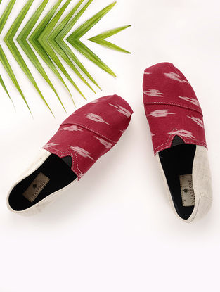 Red-Beige Handcrafted Ikat Cotton Espadrilles