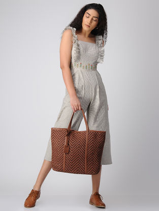 Tan Woven Leather Tote