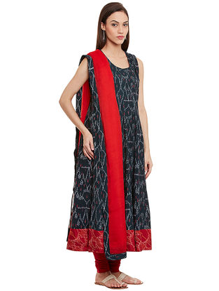 Black-Red Ikat Cotton Kurta with Dupatta (Set of 2)