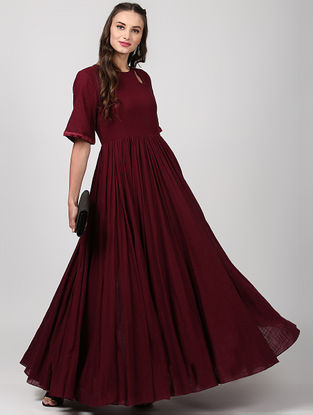 Maroon Flared Cotton Dress