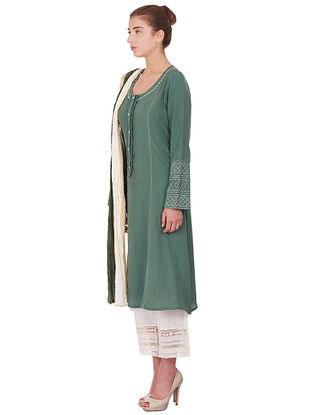 Green Embroidered Cotton Kurta with Pants and Dupatta (Set of 3)