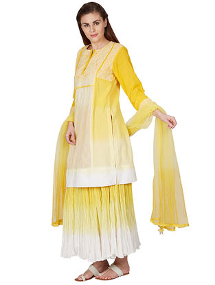 Yellow Embroidered Cotton Kurta with Skirt and Dupatta (Set of 3)