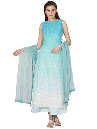 Teal Embroidered Cotton Kurta with Palazzos and Dupatta (Set of 3)