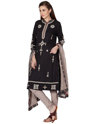 Black Cotton Kurta with Churidar and Dupatta (Set of 3)
