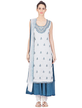 Blue-White Hand-embroidered Cotton Kurta with Churidar and Dupatta (Set of 3)