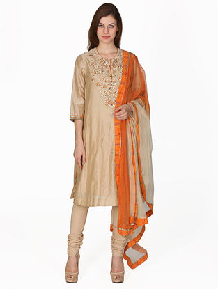 Beige Embroidered Silk Kurta with Churidar and Dupatta (Set of 3)