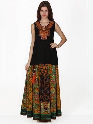 Mustard-Black Viscose Skirt with Top (Set of 2)
