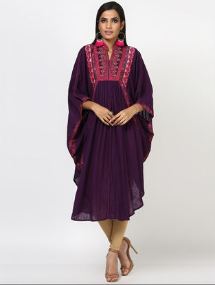 Puple Embroidered Cotton Kaftan