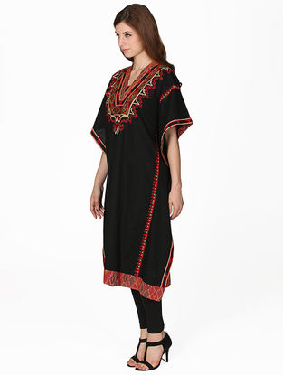 Black Embroidered Viscose Kaftan