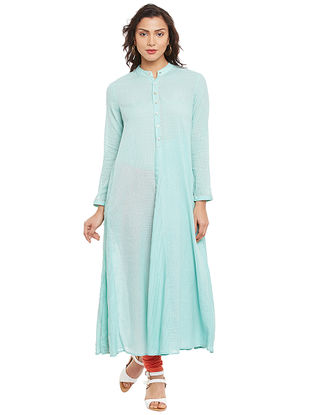 Blue Mandarin Collar Cotton Kurta