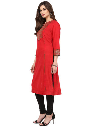 Red Embroidered Cotton Kurta