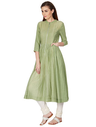 Green Hand-embroidered Silk Kurta with Gathers