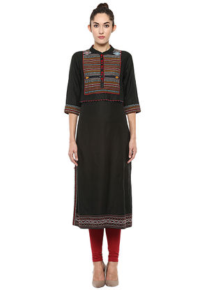 Black Hand-woven Ikat Cotton Kurta