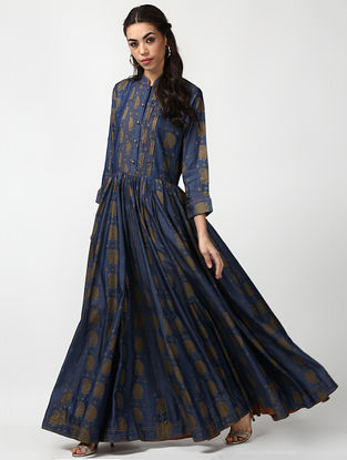 Indigo Button-Down Pleated Denim Dress