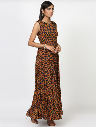Black-Brown Viscose Dress with Gathers