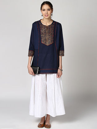 Blue Cotton Kurta with Embroidery
