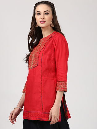 Red Cotton Kurta with Embroidery