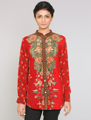 Red Mandarin Collar Silk Shirt