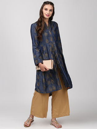 Indigo Box Pleated Denim Kurta