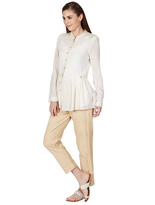 Ivory Pleated Viscose Shirt