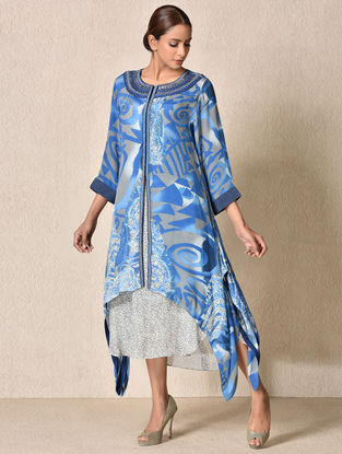 Blue-Grey Rayon Crepe Kurta with Inner (Set of 2)